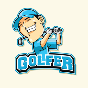 golfer logo illustration design