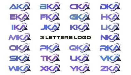 3 letters modern swoosh logo AKA, BKA, CKA, DKA, EKA, FKA, GKA, HKA, IKA, JKA, KKA, LKA, MKA, NKA, OKA, PKA, QKA, RKA, SKA, TKA, UKA, VKA, WKA, XKA, YKA, ZKA.