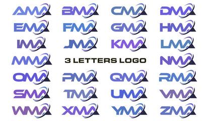 3 letters modern swoosh logo  AMA, BMA, CMA, DMA, EMA, FMA, GMA, HMA, IMA, JMA, KMA, LMA, MMA, NMA, OMA, PMA, QMA, RMA, SMA, TMA, UMA, VMA, WMA, XMA, YMA, ZMA.