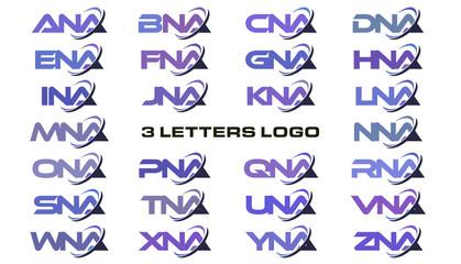 3 letters modern swoosh logo ANA, BNA, CNA, DNA, ENA, FNA, GNA, HNA, INA, JNA, KNA, LNA, MNA, NNA, ONA, PNA, QNA, RNA, SNA, TNA, UNA, VNA, WNA, XNA, YNA, ZNA.