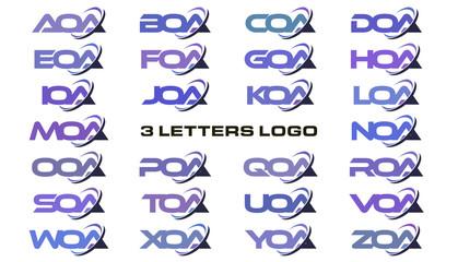 3 letters modern swoosh logo  AOA, BOA, COA, DOA, EOA, FOA, GOA, HOA, IOA, JOA, KOA, LOA, MOA, NOA, OOA, POA, QOA, ROA, SOA, TOA, UOA, VOA, WOA, XOA, YOA, ZOA.