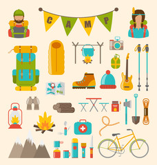 Collection of Camping and Hiking Equipment, Colorful Symbols and Icons Isolated