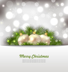 Merry Christmas Card with Fir Twigs and Golden Balls