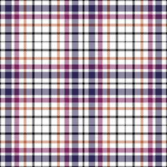 Seamless tartan plaid pattern in dark blue, plum pink, orange & black twill stripes on white background.