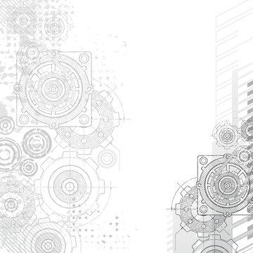 Gears background, blueprint.