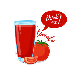 Design Template banner, poster, icons tomato smoothies. Illustration of tomato juice Drink me. Tomato fresh vegetable cocktail. Vector