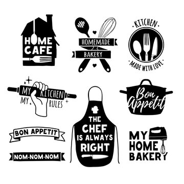 Set of vintage retro handmade badges, labels and logo elements, retro symbols for bakery shop, cooking club, cafe, food studio or home cooking. Template logo with silhouette cutlery. Vector