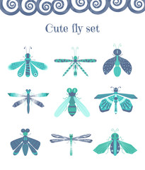 Set of cute flies and other insects