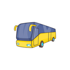 Yellow tourist bus icon in cartoon style on a white background
