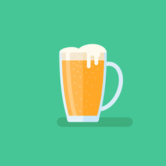 Beer mug flat style icon on green background. Vector illustration.