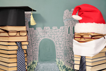 Unusual Santa Claus and professor