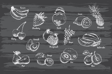 Set of fruit hand drawn on black background with name.
