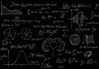 Math physics formulas and symbol on black background.