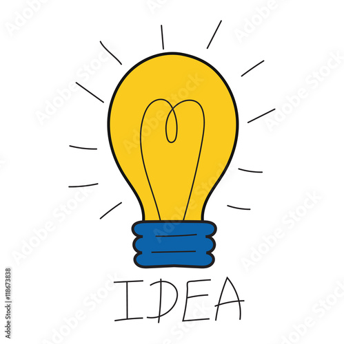 Drawing Idea Light Bulb Concept Creative Design Vector Lamp Innovation Electric Creativity Inspiration