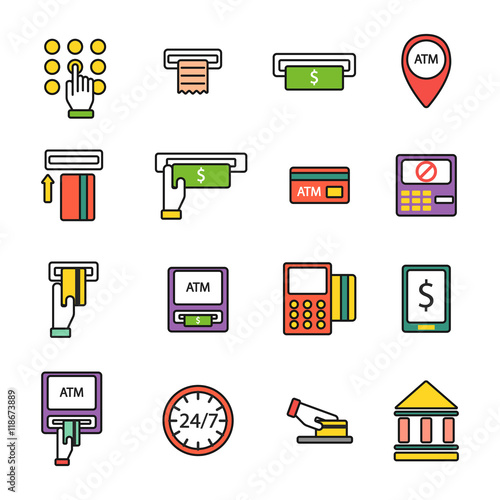 Finance atm and business vector payment card icon set atm icons finance atm and business vector payment card icon set atm icons exchange technology payment machine reheart Images