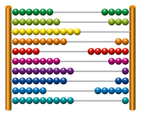 European abacus counting frame. Calculating tool with rainbow colored beads sliding on wires. Used in pre- and in elementary schools as an aid in teaching the numeral system and arithmetic or as toy.