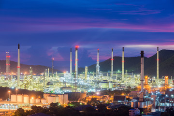 Landscape of oil refinery industry at night