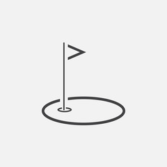 Golf course line icon, outline vector logo illustration, linear pictogram isolated on white
