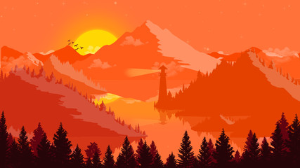 Wall Murals Orange Glow Flat landscape Sunset and islands