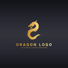 Dragon logo. Logo template suitable for businesses and product names. Easy to edit, change size, color and text.