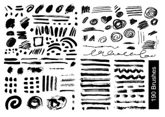 big set of 190 objects Vector brushes