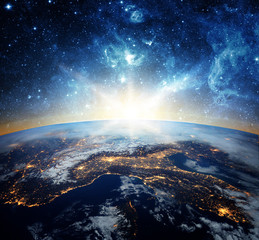 Fototapete - Earth and galaxy. Elements of this image furnished by NASA.