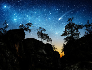 The night sky on the background of mountains and trees. Elements of this image furnished by NASA.