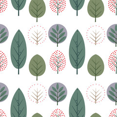 Decorative leaves seamless pattern. Cute nature background with trees. Scandinavian style forest vector illustration. Design for textile, wallpaper, fabric.