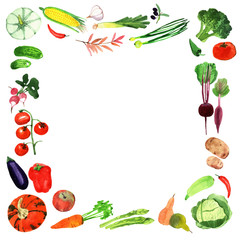 watercolor vegetables frame.Template for your design.