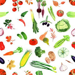 Set of watercolor vegetables.Template for your design.