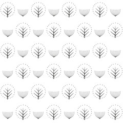 Decorative trees seamless pattern on white background. Cute nature background. Design for textile, wallpaper, fabric.