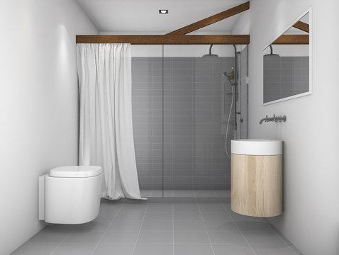 3d rendering minimal design toilet with grey tone