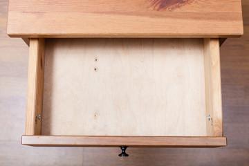 Fototapeta top view of empty open drawer obraz