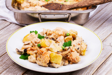 Baked Creamy Chicken with Potato and Mushrooms