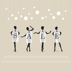 Four dummy wearing labels with  Sale . Vector illustration .