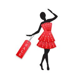 Retail details announce SALE with dress form on black mannequin