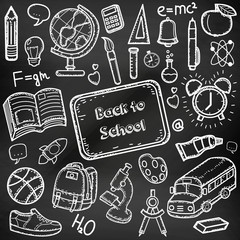 Back to School doodle set. Hand draw school items on a chalkboard. Vector