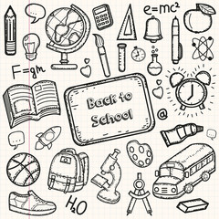 Back to School doodle set. Hand draw school items on a sheet of exercise book. Vector