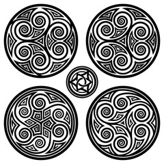 Vector ornament, set of decorative celtic triskelion round designs with spiral elements