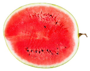 top view of cross section of ripe watermelon