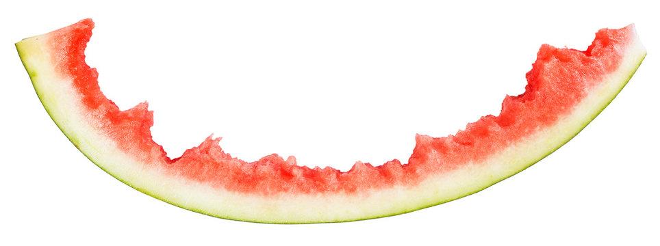 rind of eaten watermelon isolated