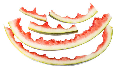 several watermelon rinds isolated on white