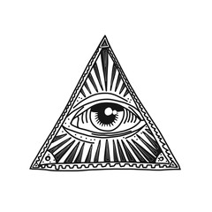 Hand drawn pyramid and eye