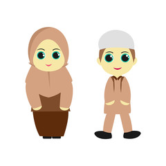 A pair of children's cartoon character wearing the Muslim hijab