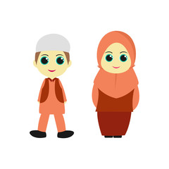 A pair of children's cartoon characters Muslim