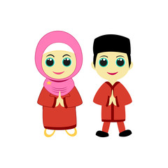 Pair characters Muslim child