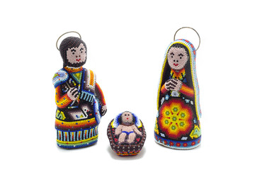 traditional hand decorated huichol nativity scene