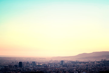 A bird view over city in sunset. Barcelona, Catalonia, Spain...