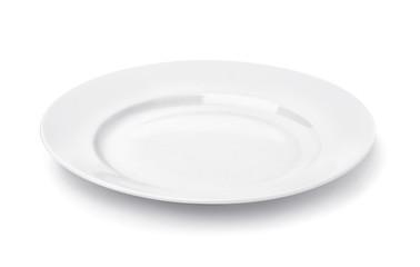White round empty dinner plate