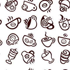 Espresso cups seamless vector pattern.